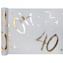 Chemin de table Anniversaire 40 ans blanc et or pour habiller avec élégance vos tables.