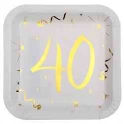 10 Assiettes Anniversaire 40 ans blanc et or pour égayer les tables de vos convives.