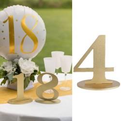 Marque table chiffre 4 Or, une accessoire déco pratique pour indiquer leur table à vos invités.