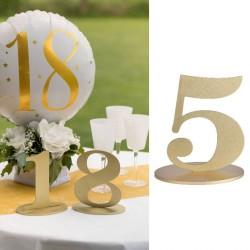 Marque table chiffre 5 Or pour indiquer sa table aux convives ou à un anniversaire pour indiquer l'âge.