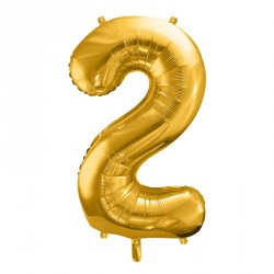 Ballon Chiffre 2 métal Or 35cm