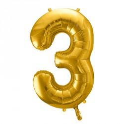 Ballon Chiffre 3 métal Or 35cm