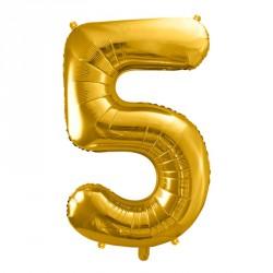 Ballon Chiffre 5 métal Or 35cm