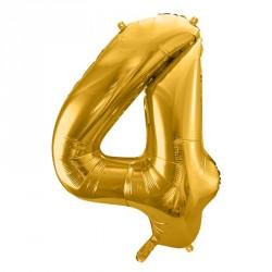 Ballon Chiffre 4 métal Or 35cm