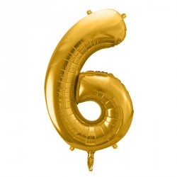 Ballon Chiffre 6 métal Or 35cm