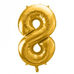 Ballon Chiffre 8 métal Or 35cm