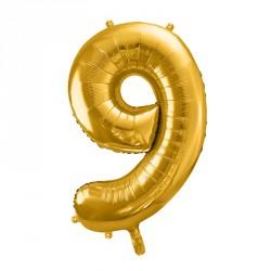 Ballon Chiffre 9 métal Or 35cm