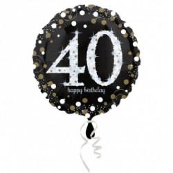 Ballon mylar Anniversaire 40 ans noir et or