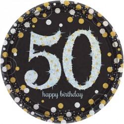 8 Assiettes Anniversaire 50 ans noir et or