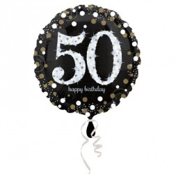 Ballon mylar Anniversaire 50 ans noir et or