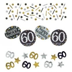 Confettis Anniversaire 60 ans noir et or