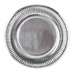 8 Assiettes Argenté 23 cm en carton