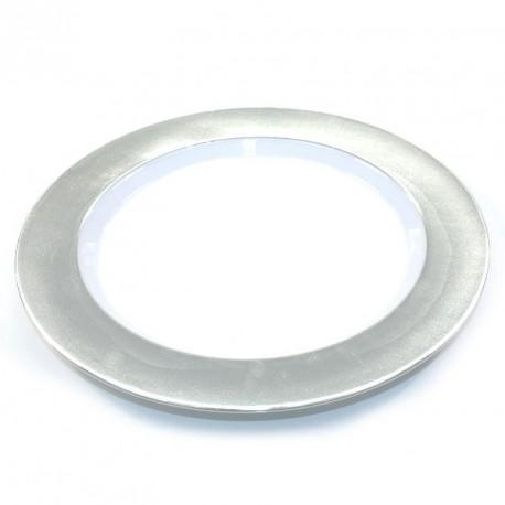 6 grandes assiettes rigides argenté réutilisables