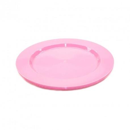6 petites assiettes rigides rose réutilisables 19cm