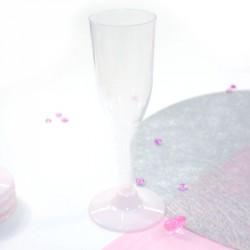 5 Flûtes à rose pâle en plastique jetable