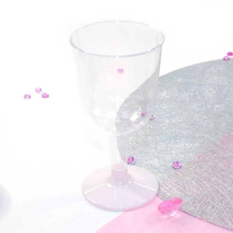 5 Verres à vin rose pâle en plastique jetable