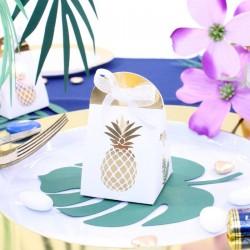 10 boites à dragées Ananas Blanches et Or