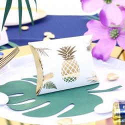 10 pochettes à dragées Ananas Blanches et Or