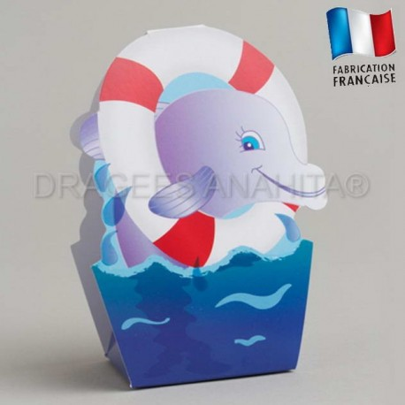 Ballotin dragées baptême dauphin bouée