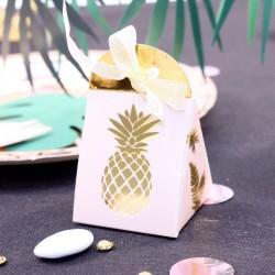10 boites à dragées Ananas Rose Gold pour mariage exotique