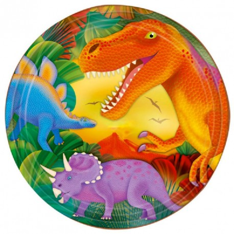 8 grandes Assiettes Dinosaure