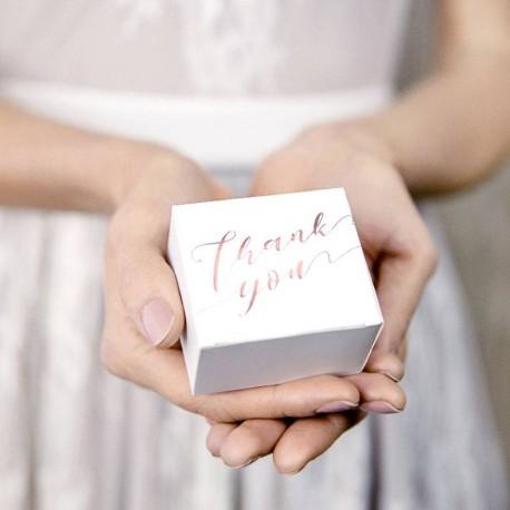 "10 Boites à dragées ""Thank You"" Rose Gold"