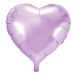 Ballon coeur métallisé Lilas 45cm