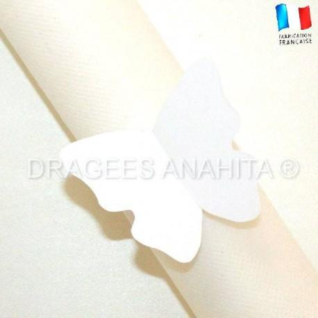 Rond de serviette Papillon blanc