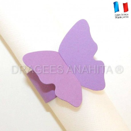 Rond de serviette Papillon lilas