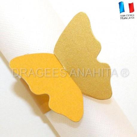 Rond de serviette Papillon or