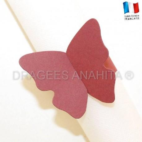 Rond de serviette Papillon bordeaux