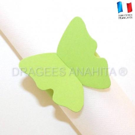 Rond de serviette Papillon vert