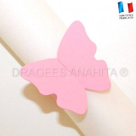 Rond de serviette Papillon rose