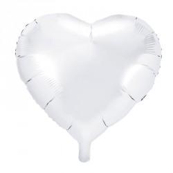 Ballon coeur métallisé Blanc 45cm