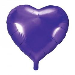 Ballon coeur métallisé Violet 45 cm