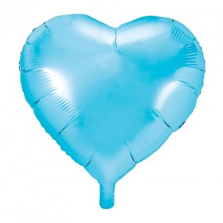 Ballon coeur Bleu ciel Aluminium 45cm
