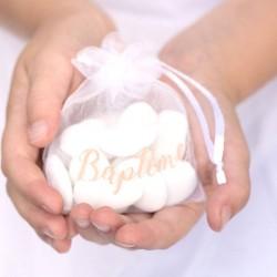 6 Sachets organza baptême Fille