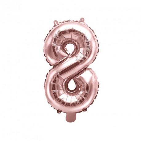 Ballon Chiffre 8 métal Rose Gold 35cm
