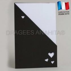 Carte menu mariage noir et blanc