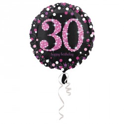 Ballon mylar Anniversaire 30 ans Noir et Fuchsia