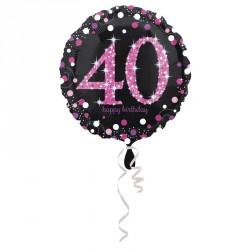 Ballon mylar Anniversaire 40 ans noir et fuchsia