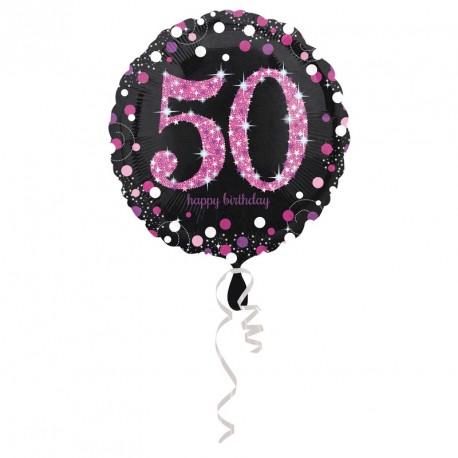 Ballon mylar Anniversaire 50 ans noir et  fuchsia