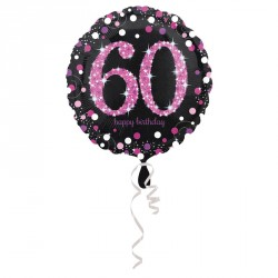 Ballon mylar Anniversaire 60 ans Noir et Fuchsia