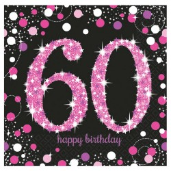 16 serviettes Anniversaire 60 ans Noir et Fuchsia