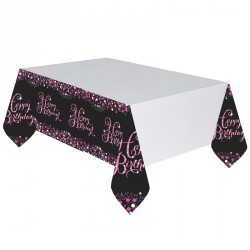 Nappe Happy Birthay Noir et Fuchsia
