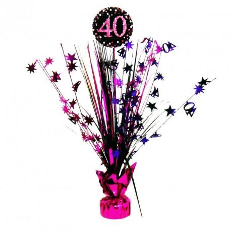 Centre de Table anniversaire 40 ans Noir et Fuchsia