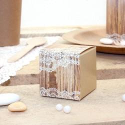 10 Cubes à dragées Bois et Dentelle