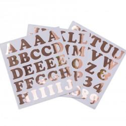 71 Stickers Lettre et chiffres Rose gold