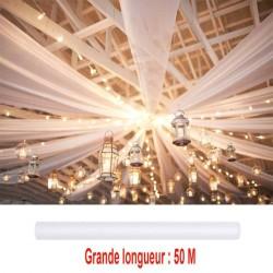 Grande tenture blanche tulle organza 50 m x 80 cm