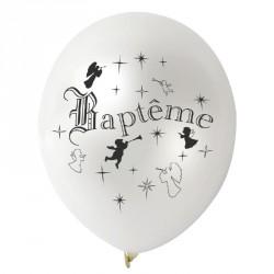10 Ballons Baptême blanc métallisés
